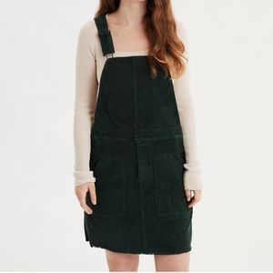 American Eagle dark green corduroy overall dress
